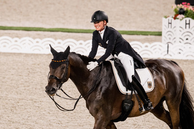 Jessica von Bredow-Werndl produced a personal-best and the biggest score of the evening with in the Dressage Grand Prix to get Team Germany off to a great start at the Tokyo 2020 Olympic Games. Photo credit: FEI/Shannon Brinkman